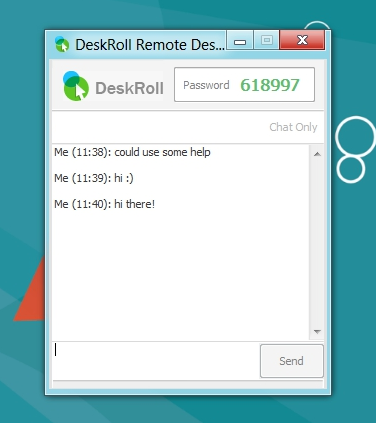Deskroll Remote Desktop - IM Chat - Client Request